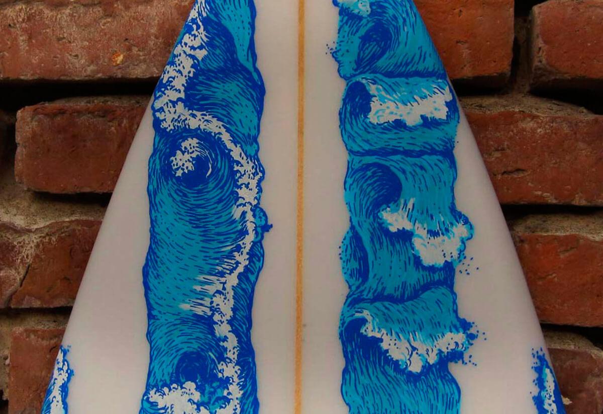 Promocion camaronbrujo arte surfboard