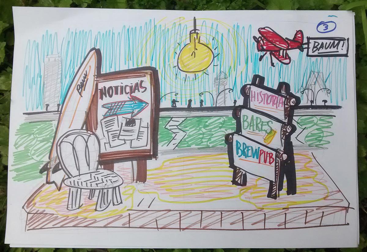 Ilustraciones guión playa. Website Baum