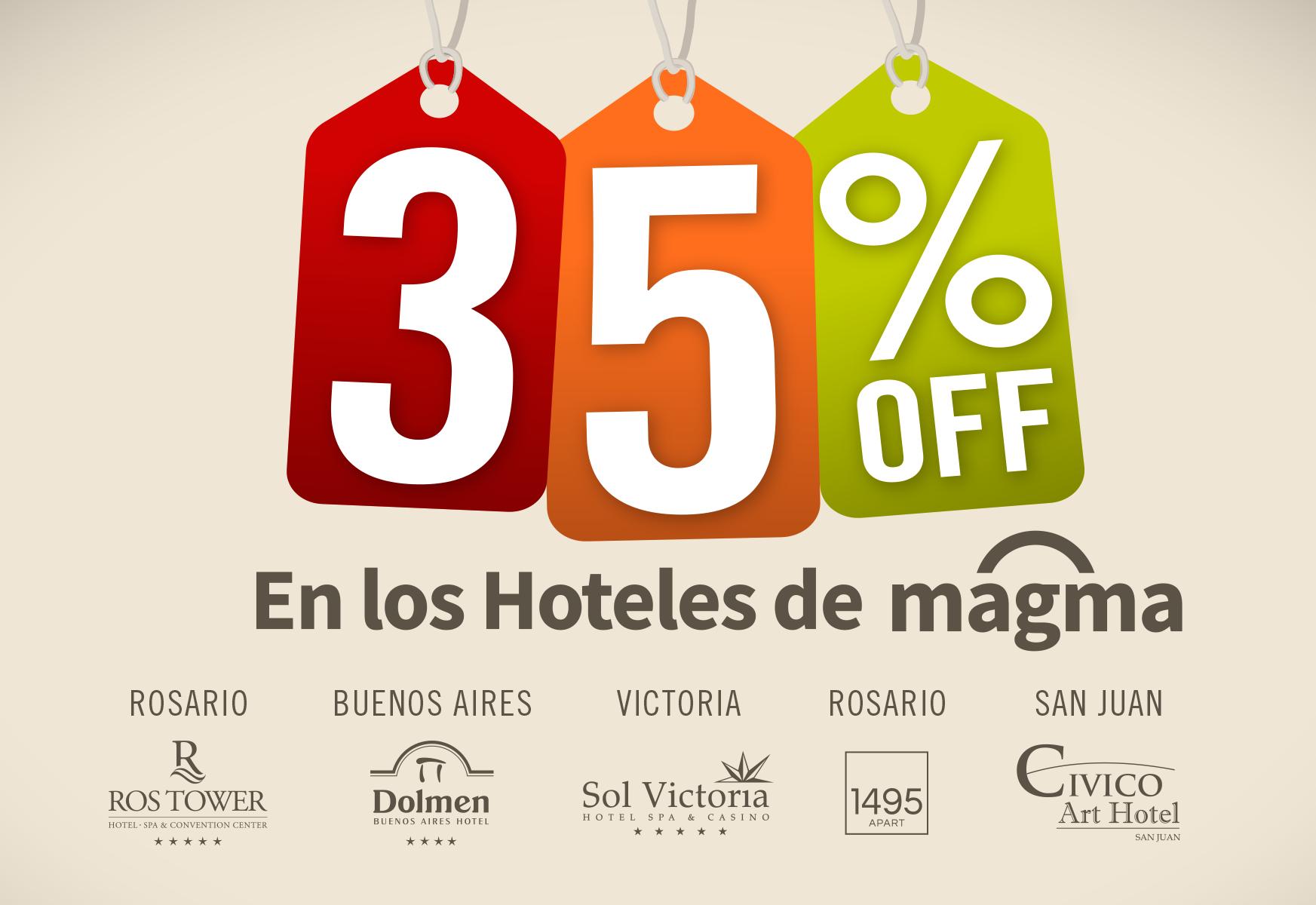 Descuento. Marketing, campaña Hoteles MAGMA