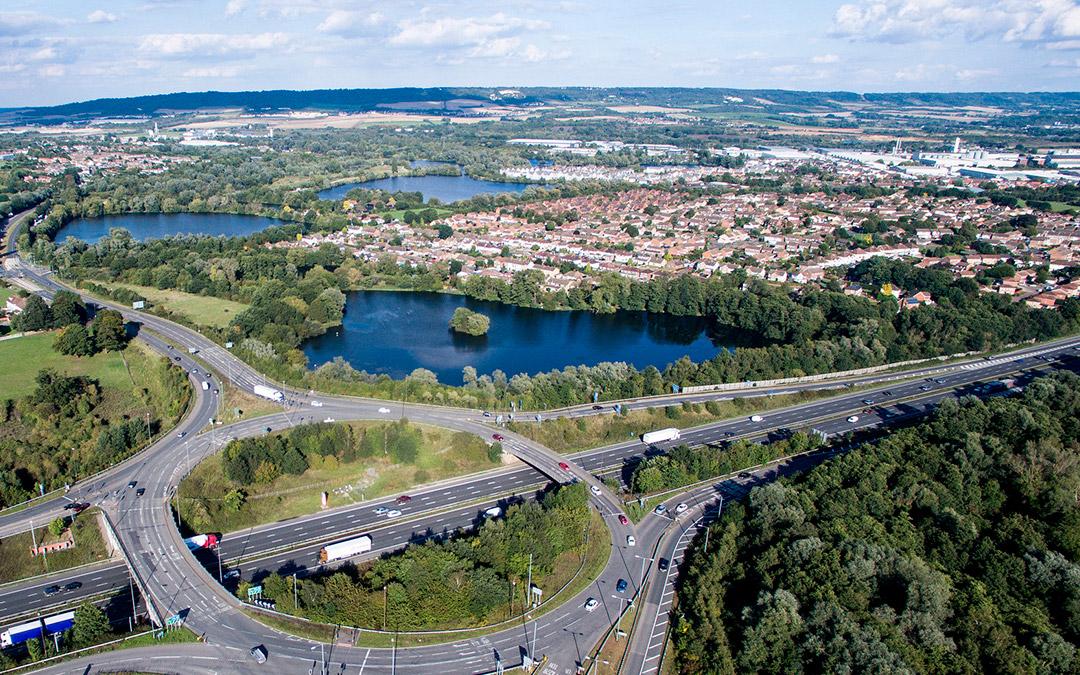Drone vista autopista