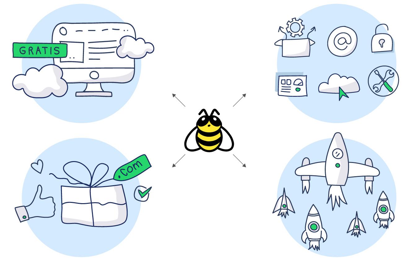 Ilustraciones e identidad Bee Web Hosting